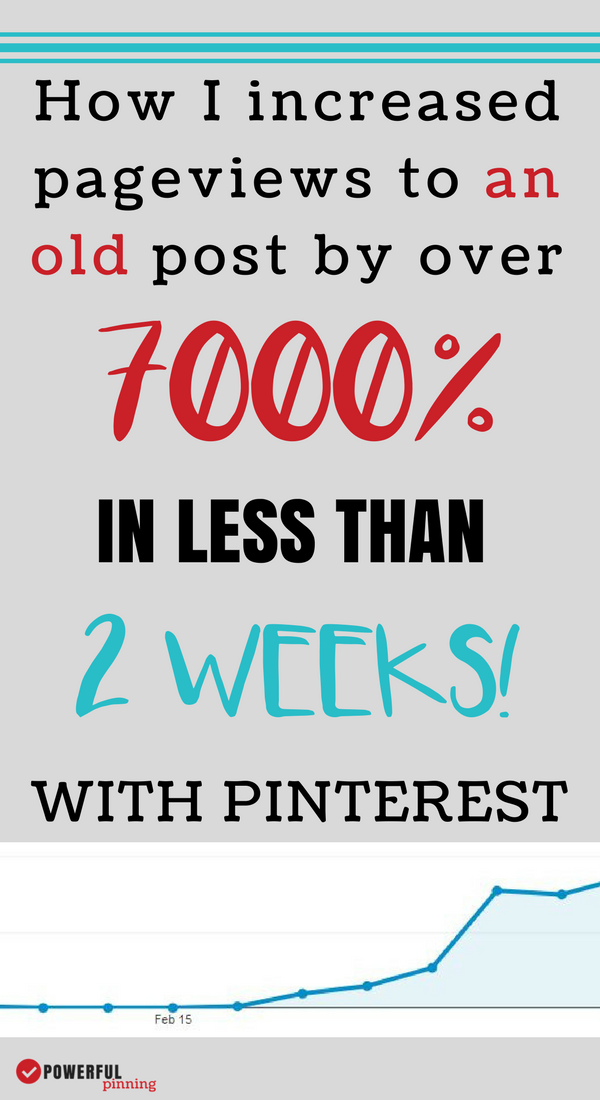 Learn how to drive traffic to your blog with Pinterest. Take a look at how changing the design of a Pinterest graphic increased pageviews to one old post by over 7000% in only 2 weeks. If your pinterest strategy isn't working- maybe you are missing something!
